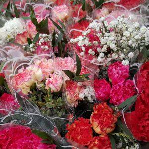 Pirilän Kukkatalon Kevätmarkkinoilta kestävät ja värikkäät neilikkaniput