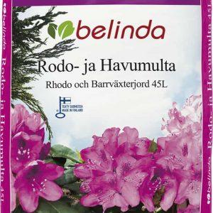 Belinda Rodo- ja Havumulta on kotimainen käyttövalmis kasvualusta havuille, alppiruusuille, pensasmustikalle, hortensioille ja muille hapanta kasvualustaa vaativille monivuotisille taimille