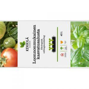 Kekkilä Luonnonmukainen kasvatusalusta sopii vihannesten taimien, salaatin tai yrttien kasvatukseen parvekkeella ja puutarhassa