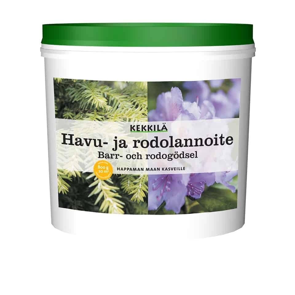 Kekkilä havu- ja rodolannoite on erikoislannoite havuille, alppiruusuille, atsaleoille, pensasmustikoille, hortensioille ja muille happaman maan kasveille