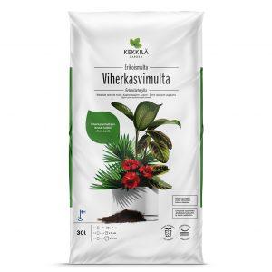 Kekkilä viherkasvimulta on erikoismulta kaikille viherkasveille, 10 litran ja 30 litran pakkauskoot